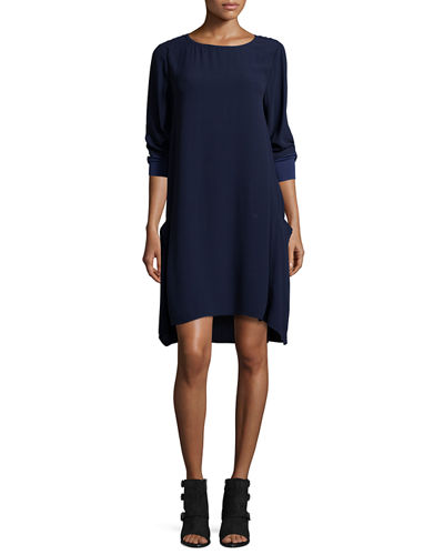 3/4-Sleeve Silk Georgette Shift Dress w/ Pockets