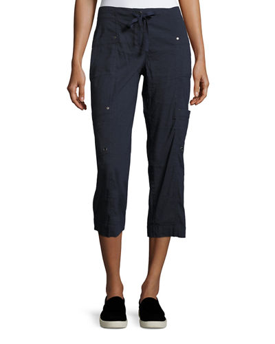 Drawstring Cropped Cargo Pants, Plus Size