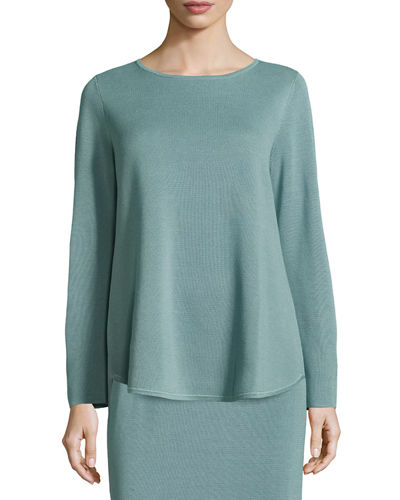 Long-Sleeve Silk/Cotton Interlock Boxy Top, Petite