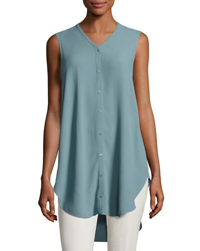 Sleeveless Silk Crepe Boyfriend Top