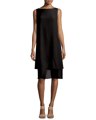 Sleeveless Layered-Hem Silk Georgette Dress