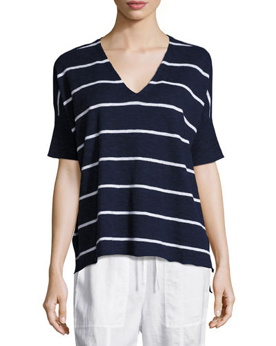 Eileen Fisher Striped V-Neck Short Sleeve Top