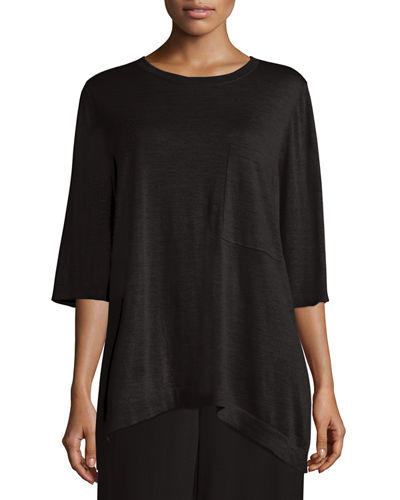 Luxe Featherweight Merino Ballet-Neck Top