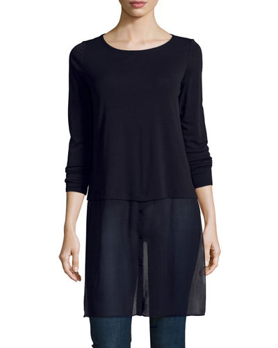 Long-Sleeve Double-Layer Tunic