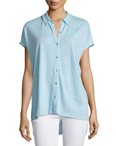Short-Sleeve Organic Linen High-Low Tunic