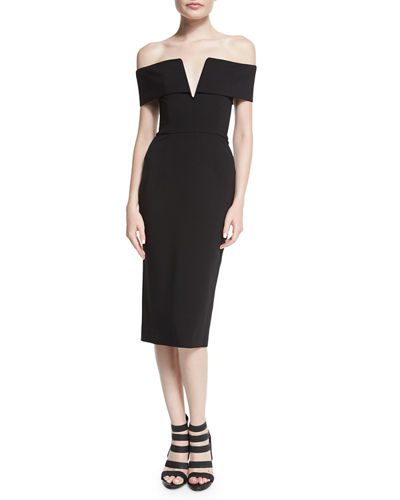 PONTI SHOULDER BAND V DRESS