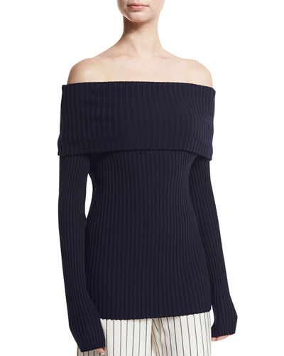 Tulah Off-the-Shoulder Ribbed Sweater