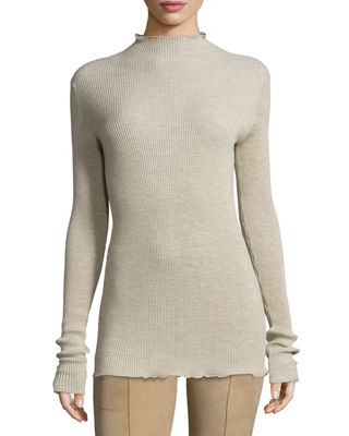 Dita Ribbed Mock-Neck Top