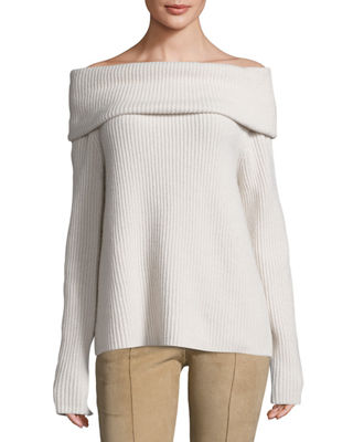Agneta Ribbed Cashmere Off-the-Shoulder Top, Light Beige