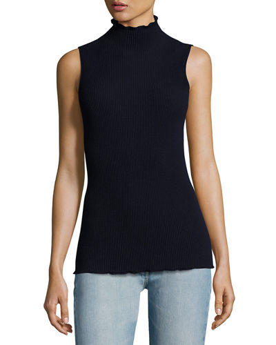 Brianna Stand-Collar Sleeveless Top