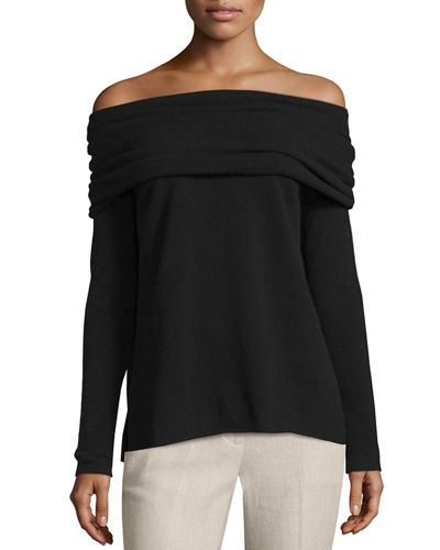 Vince High Twist Off-The-Shoulder Cashmere Sweater