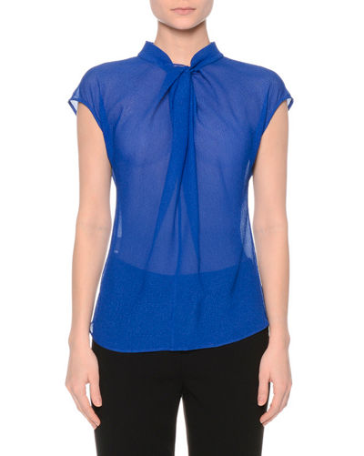 Gathered Organza Cap-Sleeve Blouse, Blue