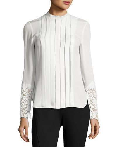 Elie Tahari Nicola Lace-Trim Pleated Silk Blouse