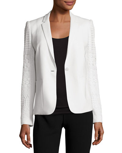Tova Crochet-Sleeve One-Button Blazer