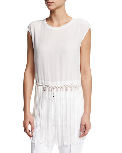 Ananya Sleeveless Fringe-Hem Blouse