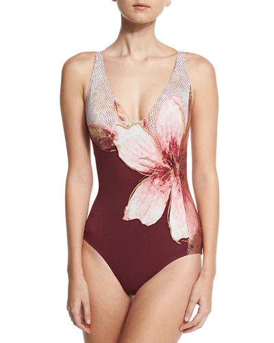 Gilded Garden V-Neck One-Piece Swimsuit