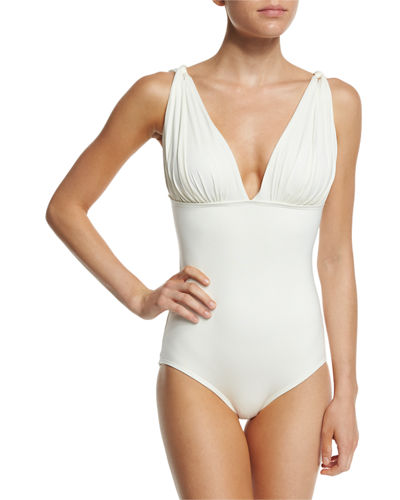 Classic Weave Draped One-Piece Swimsuit