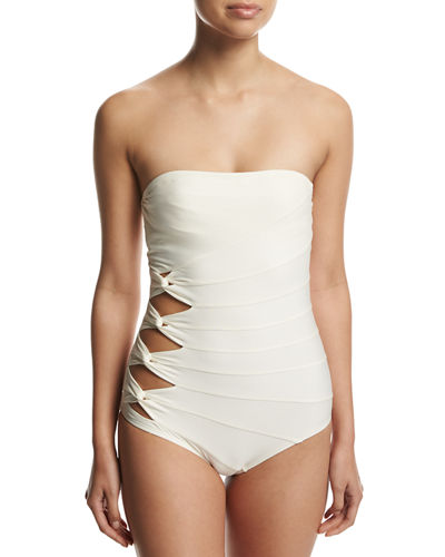 Classic Weave Bandeau One-Piece Swimsuit
