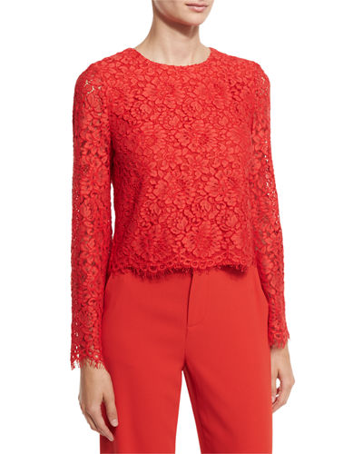 Pasha Floral-Lace Bell-Sleeve Top