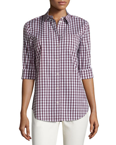 Wisteria 3/4-Sleeve Button-Front Check Top, Multi