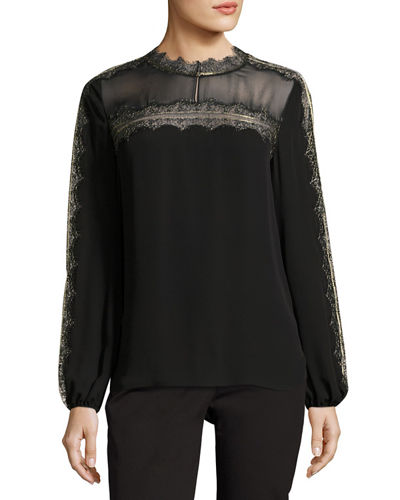 Morgana Lace-Trim Yoked Silk Blouse
