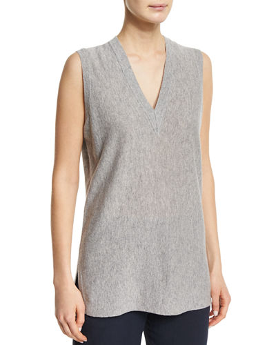 Vince V-Neck Sleeveless Cashmere Sweater