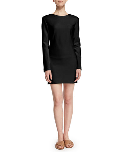 Long-Sleeve Stretch-Wool Mini Dress