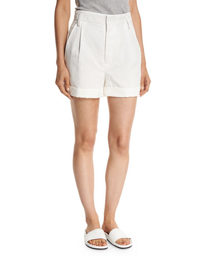 Slouchy Rolled-Cuff Linen-Blend Shorts
