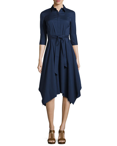 Moxie 3/4-Sleeve Handkerchief-Hem Dress