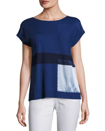 Short-Sleeve Bateau-Neck Sweater w/ Silk Panel