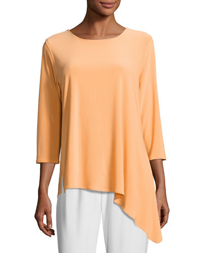 3/4-Sleeve Side Fall Top, Plus Size