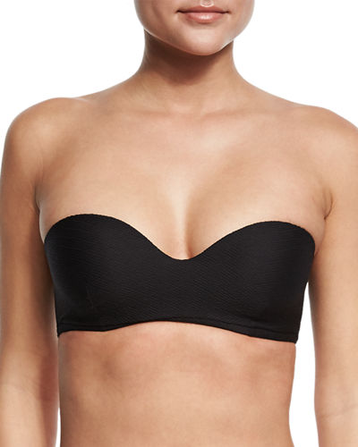Maya Textured Solid Underwire Bandeau Swim Top
