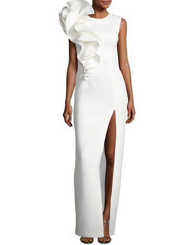 Sleeveless Ruffle-Trim Crepe Column Gown