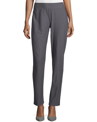 Washable-Crepe Straight-Leg Pants, Ash