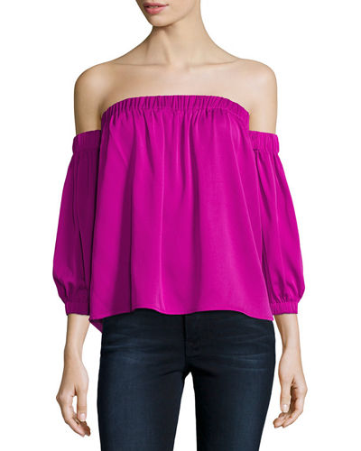 Off-the-Shoulder Stretch-Silk Blouse