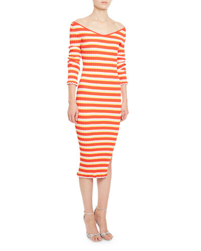 Socorro Striped Off-the-Shoulder Dress