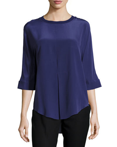 Silk Half-Sleeve Shirt w/Ribbed Trim