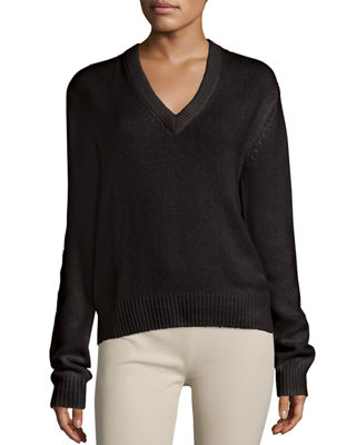 Cashmere V-Neck Sweater w/ Tie-Back