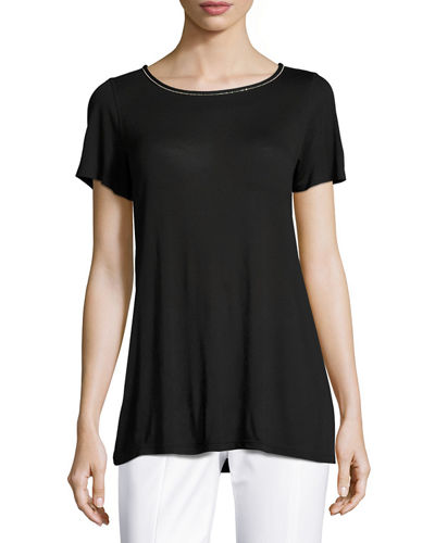 Sleek Viscose Jersey Crystal-Trim Tee