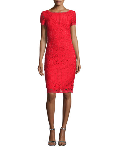 Guipure-Lace Short-Sleeve Sheath Dress