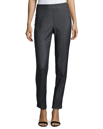 Piece-Dyed Chambray Skinny Ankle Pants
