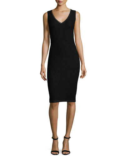St. John Collection Zula Embroidered-Trim Knit V-Neck Dress