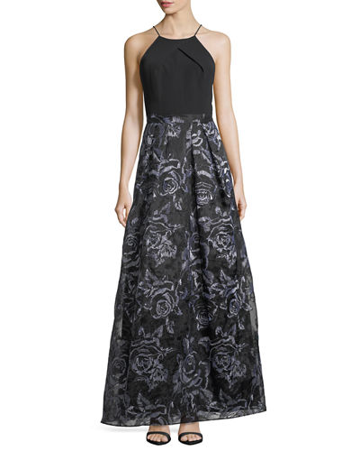 Sleeveless Ponte & Rose Crepe Gown
