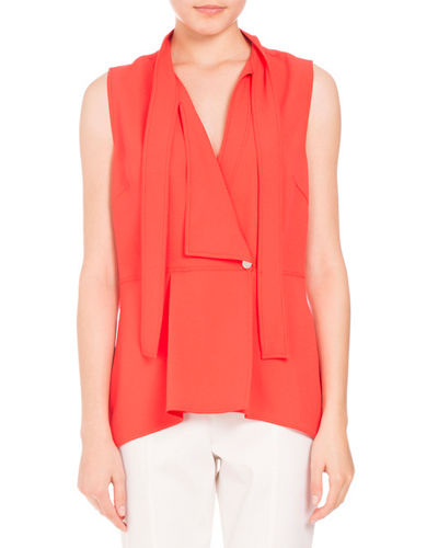 Tie-Neck Sleeveless Wrap Top