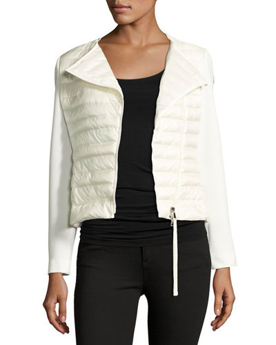 Reo Asymmetric-Zip Quilted Down Cardigan