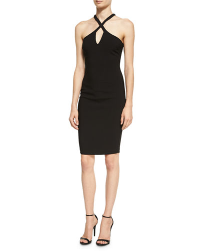 Charles Crossover-Neck Sleeveless Cocktail Dress