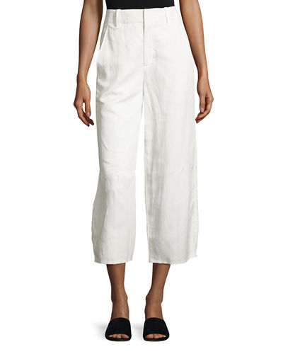 High-Waist Cropped Wide-Leg Pants