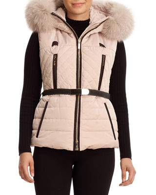 Apr?s-Ski Fox-Trim Hooded Vest Sale