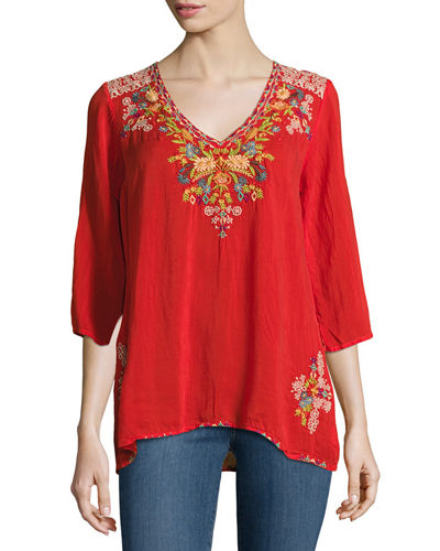 Mary Ann V-Neck Embroidered Blouse, Plus Size