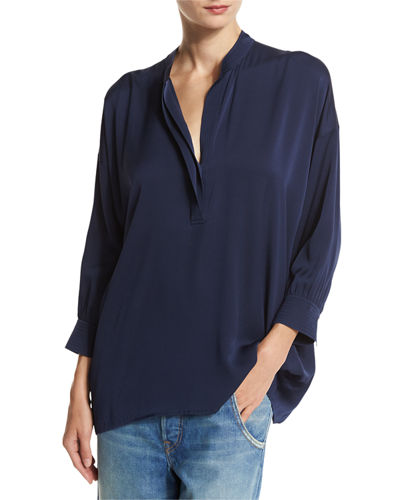 Shirred Drape Silk Pullover